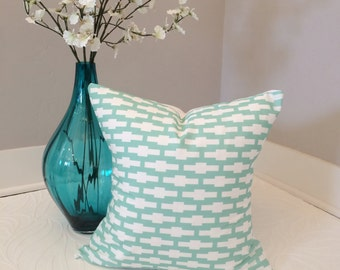 Teal and White Geometric Cross Modern Pillow Cover 18x18