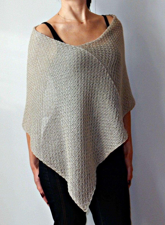 linen grey cape poncho asymmetrical cape summer wrap lace. Black Bedroom Furniture Sets. Home Design Ideas