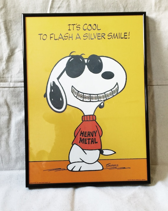 Snoopy With Braces Vintage Snoopy Peanuts Poster Heavy Metal