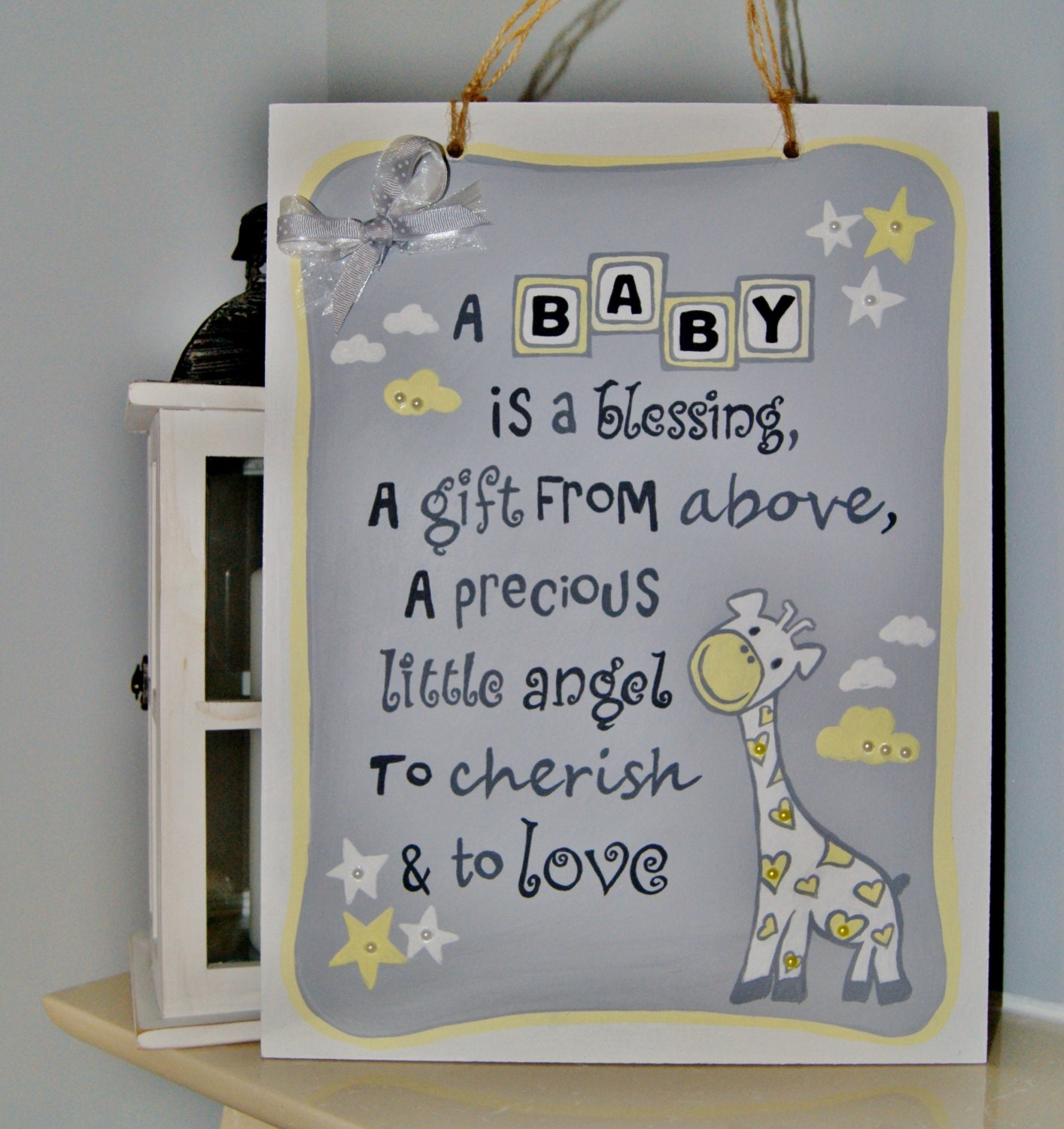 Baby Gift Name Plaque : New baby gift plaque s nursery wall art
