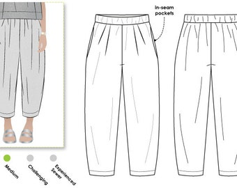 PRINTSHOP PATTERN (not tiled) - Ethel Designer Pant - Sizes 10, 12, 14 - Women's designer pant PDF Sewing Pattern by Style Arc