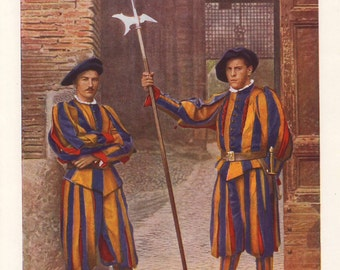 Two members of the Swiss Guard, original 1930 print - Vatican City, Rome, Italy - 85 years old antique lithograph illustration (A425)