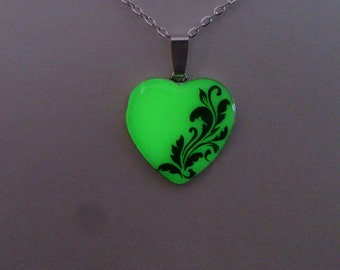 Green  Glowing Necklace, Fluorescent Glowing Jewelry,  Glow in the Dark Heart, Gifts for Her, Hand painted, Gift ideas OOAK