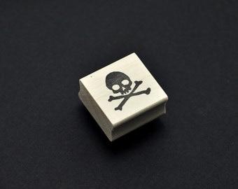 Skull and Crossbones Rubber Stamp, Hand Carved Stamp