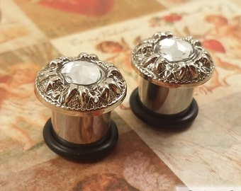 "Plugs Gauges - Ornate Crystal Plugs - 2ga (6mm), 0ga (8mm), 00ga (10mm), 7/16"" (11mm), 1/2"" (12mm) [E]"