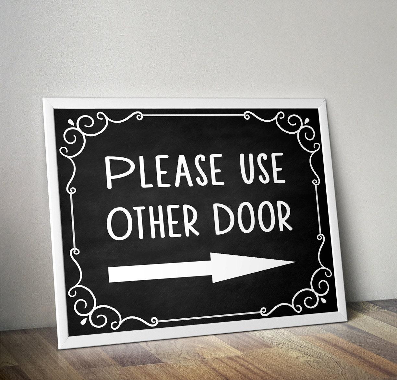 Please use other door Please use front door Front door sign