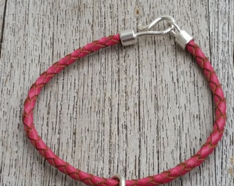 Pink Leather Charm Bracelet (small)
