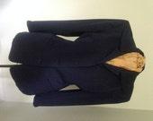 Vintage 1940s Ladies Navy Wool Gabardine Jacket Military WWII Mid Century Depression Size 8 -10