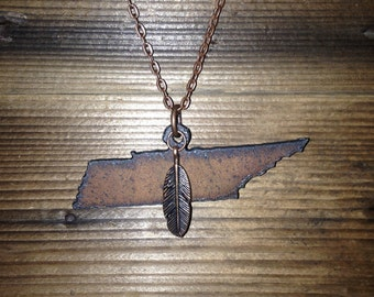 "Tanasi Native | State of Tennessee Rusted Metal Cutout | Feather (Antique Copper, Silver, or Antique Gold) | 24"" Antique Copper Chain"