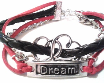 Bohemian, Jewellery, Wristband, Cuff, Bracelet, Boho, Accessories, Suede, Silver, Charms, Jewelry, Hearts, Unisex, Black, Red, Festival