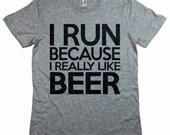 I Run Because I Really Like Wine Shirt. Comfy Unisex T-Shirt. Funny Wine Shirt. Running T Shirt. Workout Tee. Wine Lover Fitness Tee.