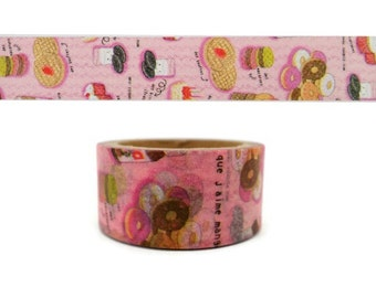 Kawaii macaroons and doughnuts WIDE washi tape - milk - cookies - waffles - cupcakes - donuts - emoticon - pink sweets paper masking tape
