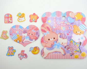 50 Kawaii Japanese bunny rabbit and teddy bear magic night sticker flakes - cute baby chicks - moon and stars - horse - pastel colors