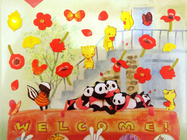 red poppy stickers animal stickers kawaii stickers ginkgo