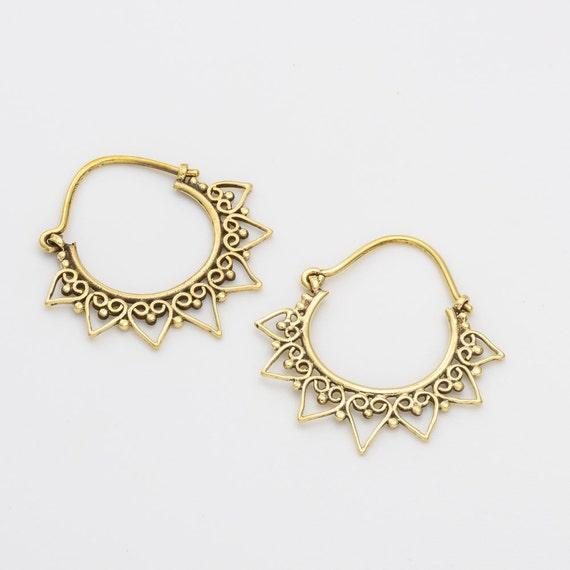 Indian tribal earrings. tribal earrings. boho earrings. brass earrings. hoop earrings. indian earrings. gypsy earrings. brass hoop earrings.