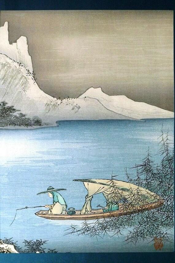 Japanese antique woodblock print, Kano Masanobu, Large size.