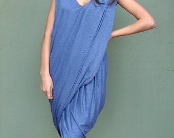 Blue Loose Maxi Dress / Loose Tunic / Extravagant Dress / Blue Sleeveless Dress
