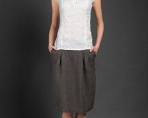 Woman linen skirt, linen summer skirts, mid length skirts, tea length skirts, gray, blue, linen clothes summer skirts for woman beach skirts