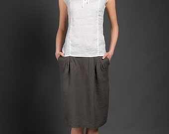 Woman linen skirt, linen summer skirts, mid length skirts, tea length skirts, gray, blue, linen clothes summer skirts for woman beach skirts