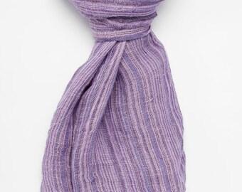 Long purple linen scarf, purple scarf, striped scarf, 100 % linen scarf, long scarf, woman scarf, linen woman shawl, pure linen scarf