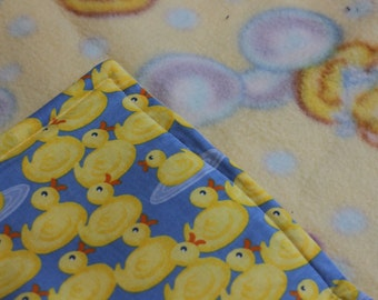 Yellow and Blue Ducky Minky Baby Blanket