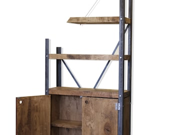 De-constructed Oak/Steel Industrial Cupboard Bookcase [Bespoke sizes available!]