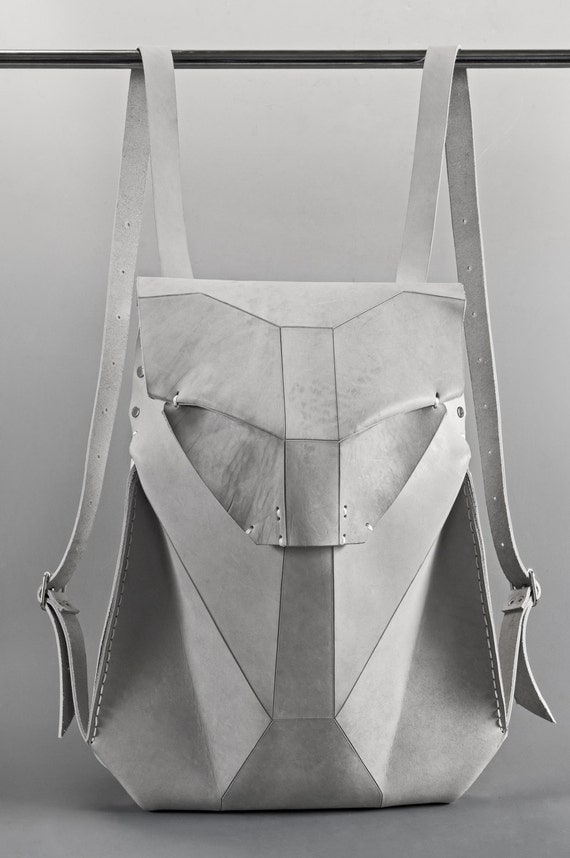 White Leather Backpack GEOS SCAPULA
