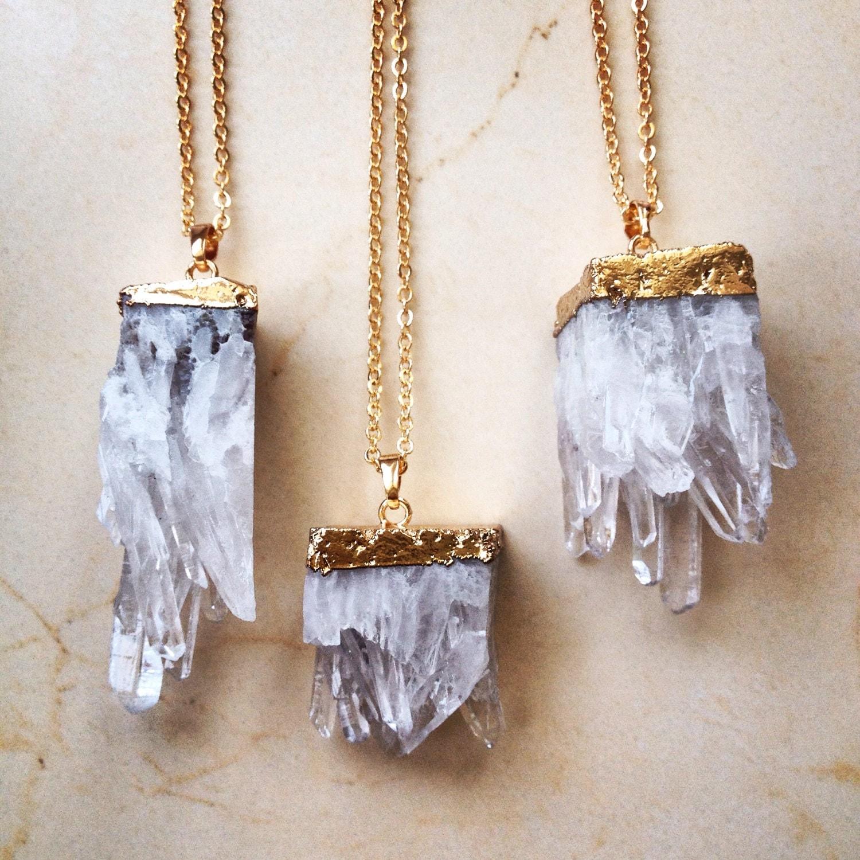 sale gold dipped raw quartz necklace gemstone pendant gold. Black Bedroom Furniture Sets. Home Design Ideas
