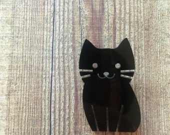 Super Cute Cat Brooch. Kitty Brooch. Cat Brooch. I Love Cats. Cats Rock. Cats Rule. Black Cat Brooch.