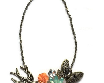 Statement Necklace, Butterfly Necklace,Swallow Necklace, Mint Necklace, Flower Necklace, Wedding Jewelry, OOAK Necklace, Bird Necklace