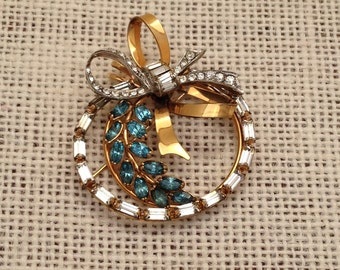 12K Gold Filled And Rhinestone Bow Brooch By CRC Charles Reis Company