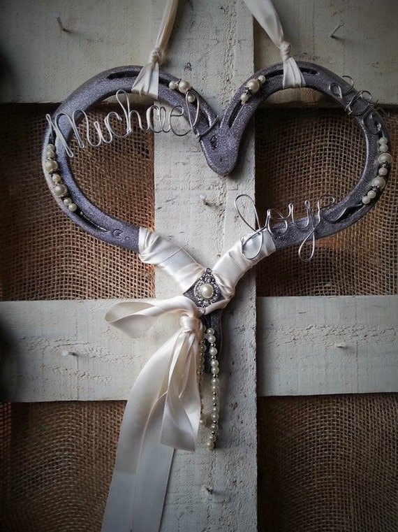 Wedding horseshoe horse gift horseshoe decor decorated for How to decorate horseshoes