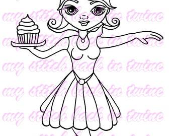 Digital stamp colouring image -  cupcake skater Charlee . jpeg / png