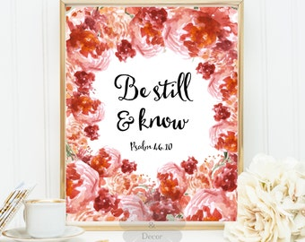 Be still and know Psalm 46:10 Bible verse printable wall decor typography print Scripture print wall art poster verse Christian art poster