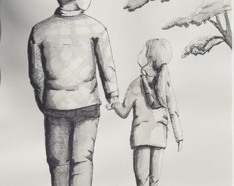 Original ink illustration on watercolour paper, DADDY AND ME, unframed