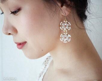 GOLD PEARL DROP earrings / elegant gold bridal earrings / handmade jewelry / 14k gold filled / wishpiece