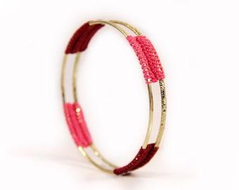 personalized bangle - bangle bracelet - personalized gift - handmade bangle - crochet bangle - crochet jewelry - marsala - pink