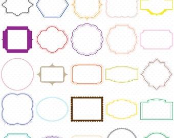 25 Colorful Digital Frames, Digital Frames Clip Art, Classic frames, Scrapbooking Frames, Basic Frames, Clip Art Frames, Card graphics