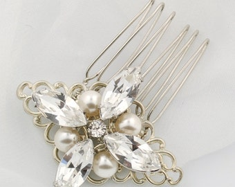 Rhinestone wedding comb - bridal hair comb - Swarovski crystal - wedding hair brooch - bridal headpiece - hair accessory - Coco comb