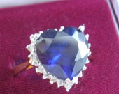 Sapphire Heart Ring Dark Blue Faceted Gemstone White Crystal Heart Frame GoldPlated UK size S US size small 10