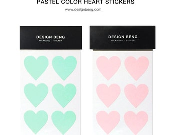 24 Pastel Heart Stickers