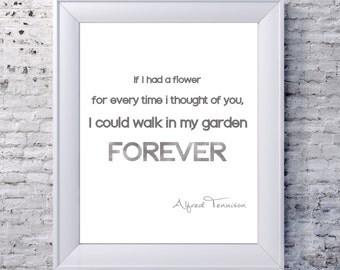 Printable quote - wedding, valentine, love quote, Tennyson, grey - instant download