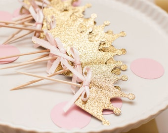 Ready To Ship - Princess Crown Cupcake Toppers In Gold Glitter set of 12