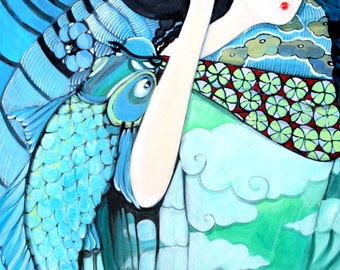 Art Print Illustration acrylic Art painting Art Asia - the girl from the water - print of the original painting