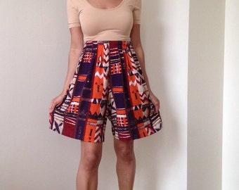 90s Tribal Ethnic Print Shorts