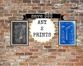 Blueprint art prints.  Your choice of 2 artworks.  VW Prints, Blueprints, Chalkboard, Sepia, Sci-fi, Planes, Inventions, Patents. Item 00132