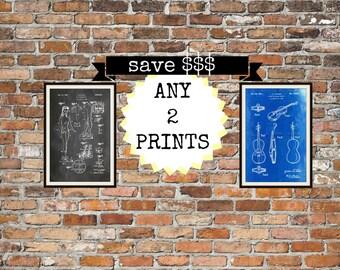 Blueprint art prints.  Your choice of 2 artworks.  VW Prints, Blueprints, Chalkboard, Sepia, Sci-fi, Planes, Inventions, Patents. Item 00132