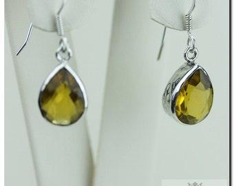 BRANDY CITRINE TEAR 925 Solid (Nickel Free) Sterling Silver Italian Made Dangle Earrings E441