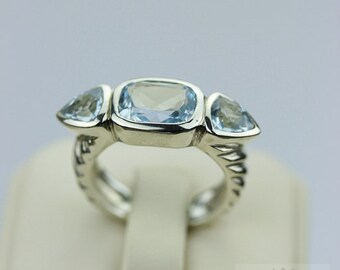 SIZE 6 BLUE TOPAZ (Nickel Free) 925 Sterling Silver Ring & Free Worldwide Express Shipping r190
