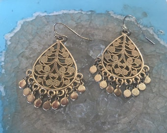 1970's Vintage, Gold Plated Dangle Earrings